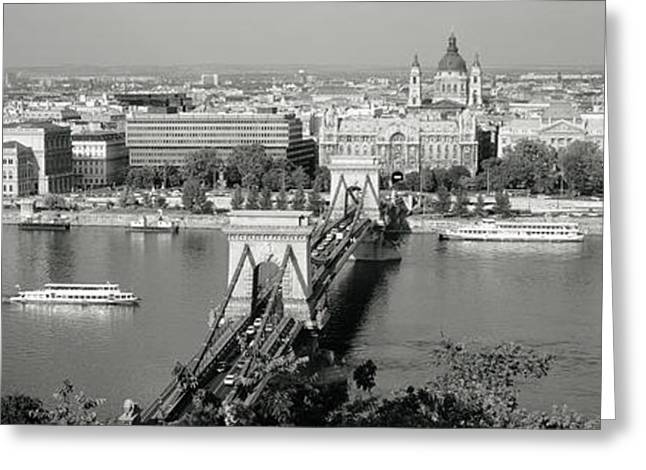 Chain Bridge Over The Danube River Greeting Card by Panoramic Images