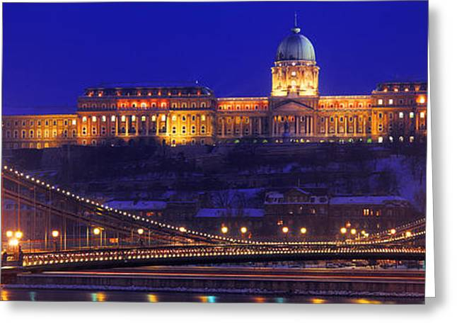 Chain Bridge, Royal Palace, Budapest Greeting Card by Panoramic Images
