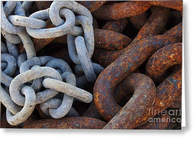 Chain Links Greeting Card by Carlos Caetano