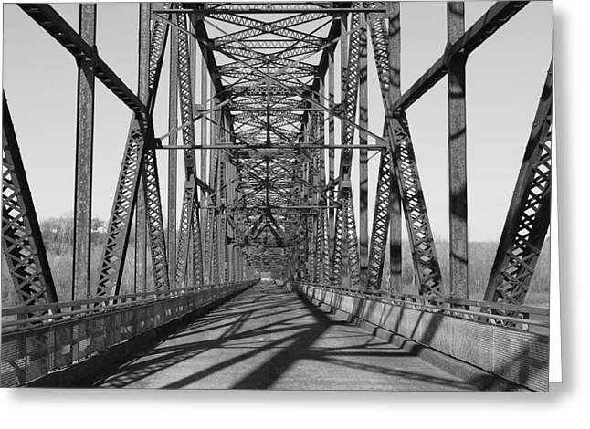 Chain Of Rocks Bridge Greeting Card by David Yunker