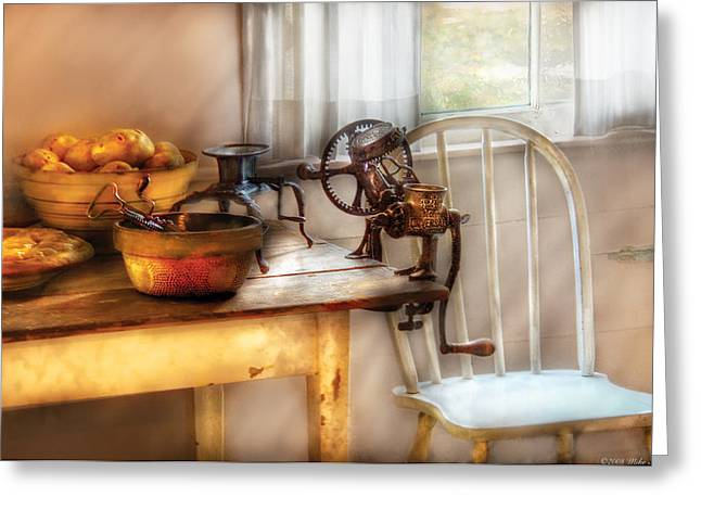 Chair - Kitchen Preparations  Greeting Card by Mike Savad