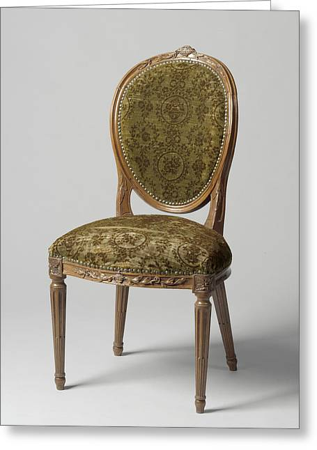 Chair Of Mahogany, Lined With Green Mock-velvet Greeting Card
