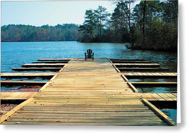 Chair On Dock By Jan Marvin Greeting Card