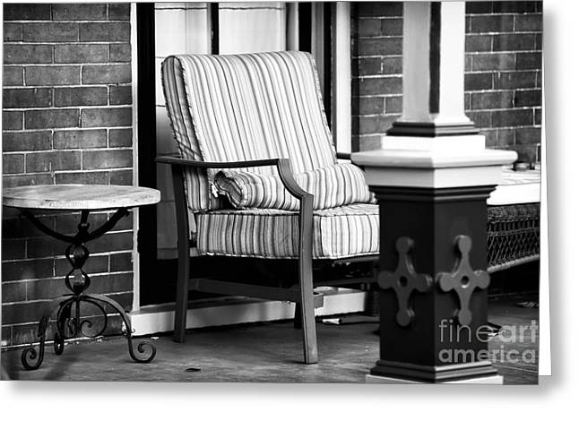 Chair On The Porch Greeting Card by John Rizzuto