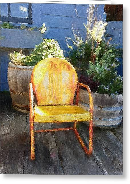 Chair On The Porch Greeting Card by Joie Cameron-Brown