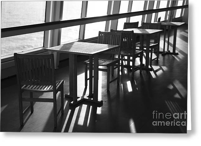 Chairs And Tables Greeting Card by Anne Gilbert
