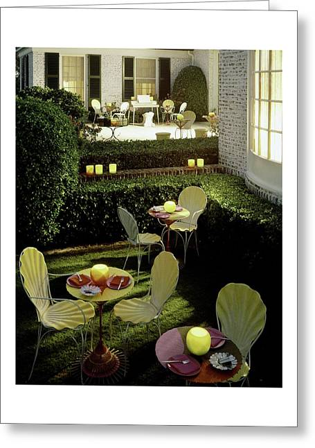 Chairs And Tables In A Garden Greeting Card