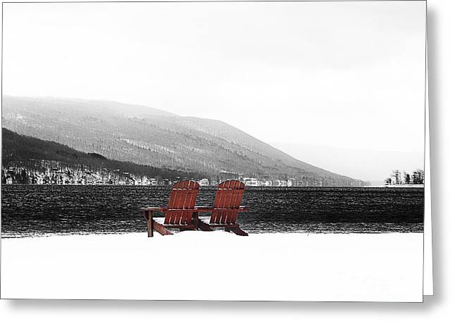 Chairs At Canandaigua Lake 2011 Greeting Card by Joseph Duba