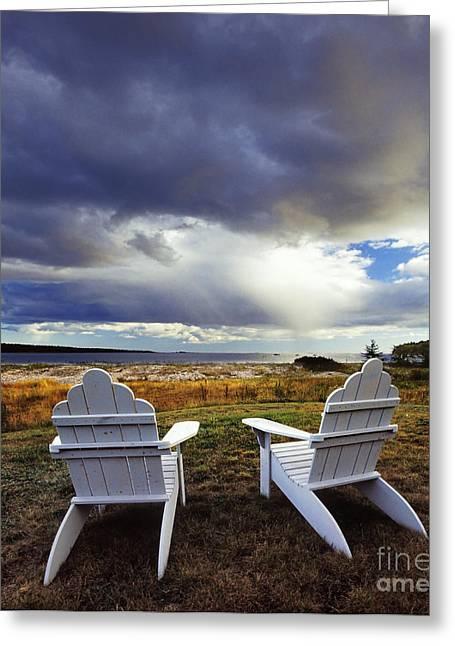 Chairs At La Petit Manan Greeting Card by Jim Block