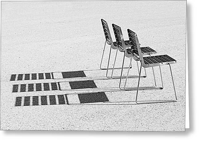 Chairs In The Sun Greeting Card by Chevy Fleet