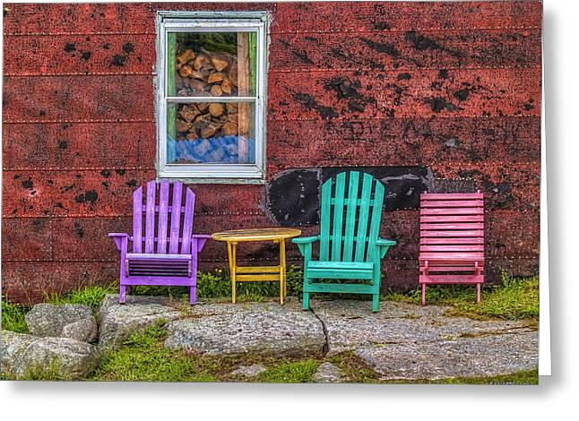 Chairs Of West Dover Greeting Card by Ken Morris