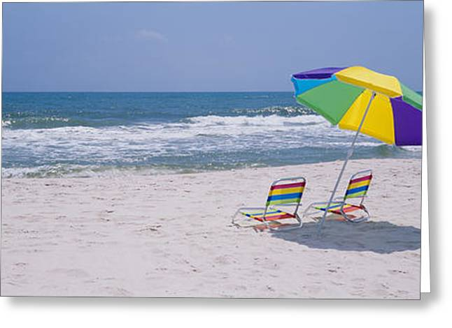 Chairs On The Beach, Gulf Of Mexico Greeting Card by Panoramic Images