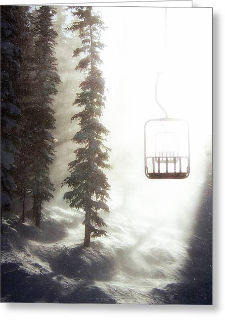 Chairlift Greeting Cards - Chairway to Heaven Greeting Card by Kevin Munro