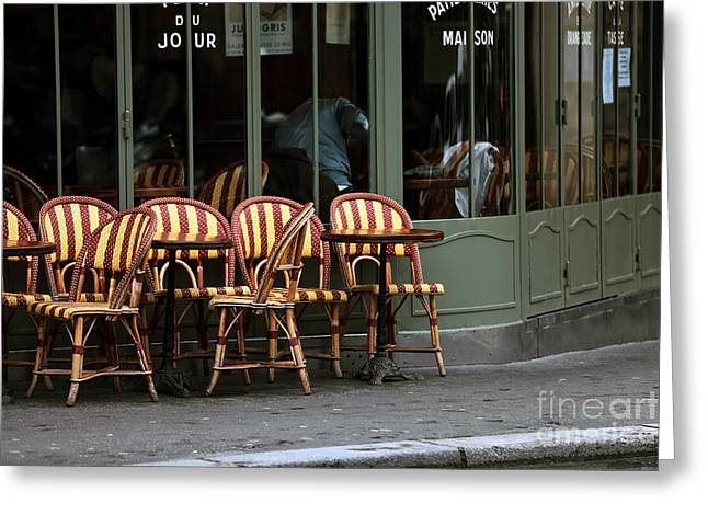 Chaises De Cafe Greeting Card by John Rizzuto