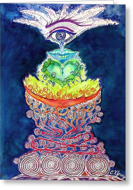 Chakra Doodle 2 Greeting Card by Christine Kfoury