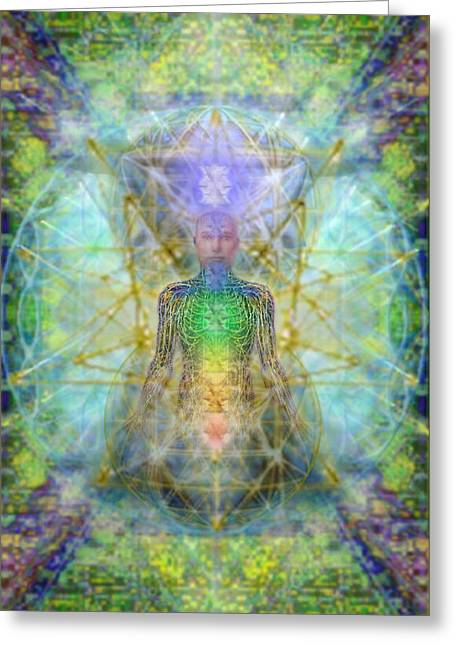 Chakra Tree Anatomy With Mercaba In Chalice Garden Greeting Card