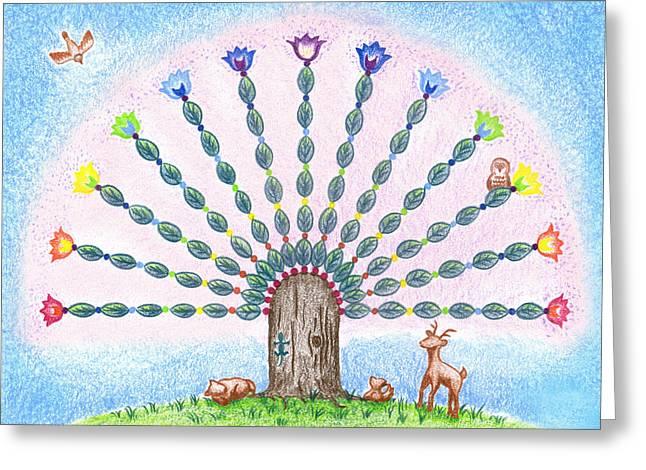 Chakra Tree Greeting Card by Keiko Katsuta