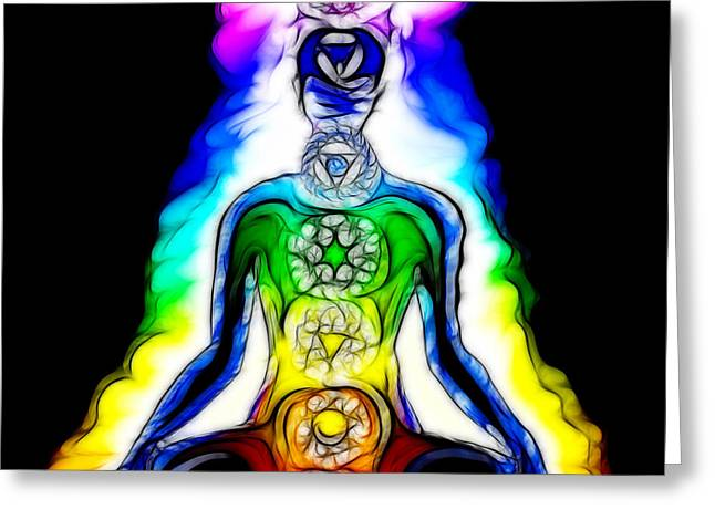 Chakras At Work Greeting Card by Mary Burr
