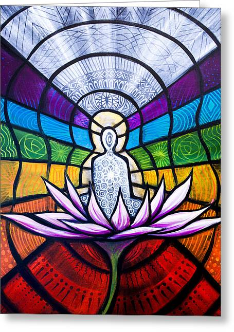 Chakras Greeting Card by Renee Keith