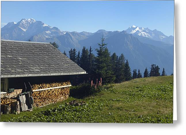 Chalet In The Swiss Alps Bettmeralp Switzerland Greeting Card