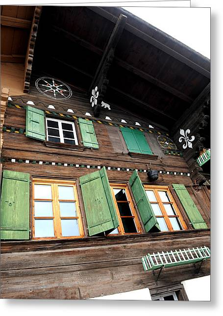 Chalet Windows Greeting Card by Stephen Richards