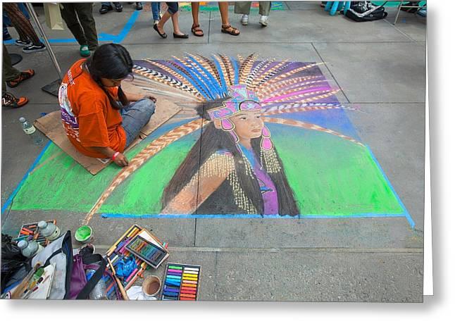 Pasadena Chalk Art - Street Photography Greeting Card by Ram Vasudev