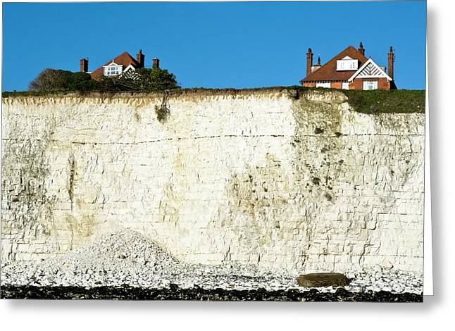 Chalk Cliffs And Houses Greeting Card by Carlos Dominguez