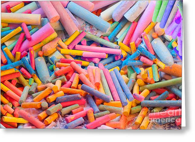 Chalk Colors Greeting Card by Alixandra Mullins