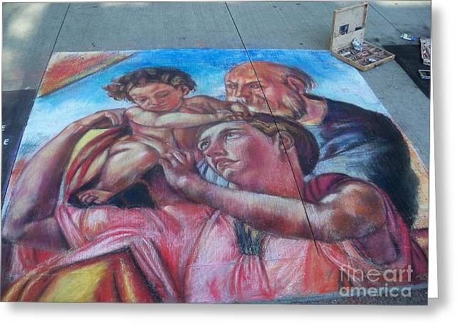 Chalk Painting By Street Artist Greeting Card