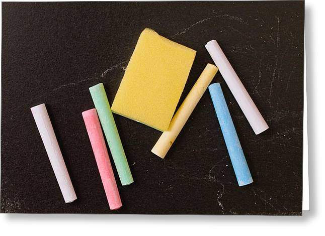 Chalk Pieces Greeting Card by Tom Gowanlock