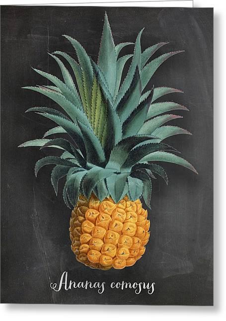 Chalkboard Pineapple Print Greeting Card by Natalie Skywalker