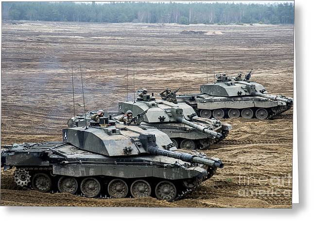 Challenger 2 Main Battle Tanks Greeting Card by Andrew Chittock