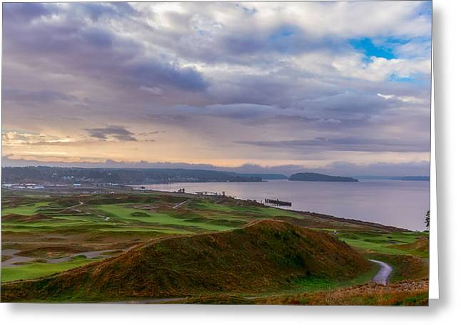 Chambers Bay Links Greeting Card by Ken Stanback