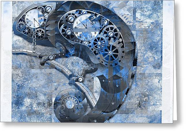 Chameleon - Blue 01b02 Greeting Card by Variance Collections