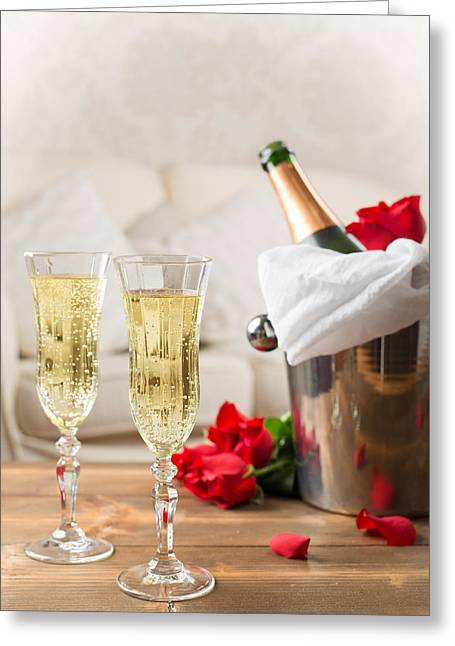 Champagne And Ice Bucket Greeting Card by Amanda Elwell
