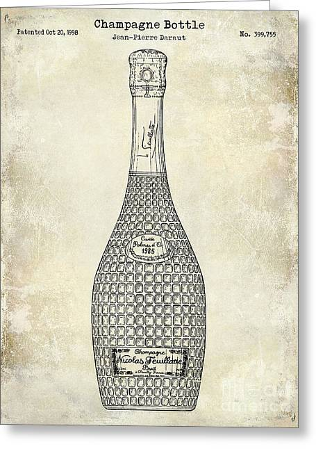 Champagne Bottle Patent Drawing Greeting Card by Jon Neidert