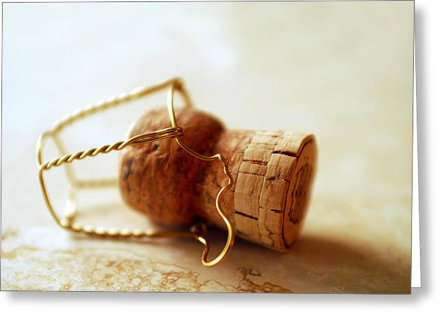 Champagne Cork Greeting Card by Jon Neidert