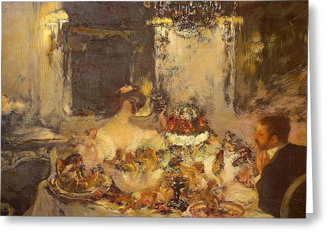 Champagne Greeting Card by Gaston La Touche