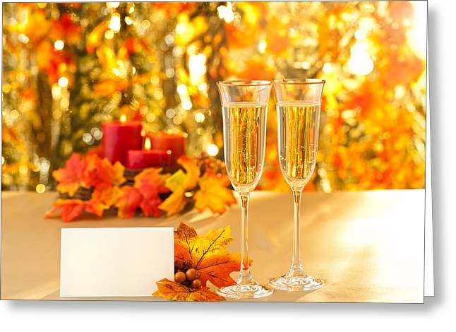 Champagne Glasses For Reception In Front Of Autumn Background Greeting Card by Ulrich Schade
