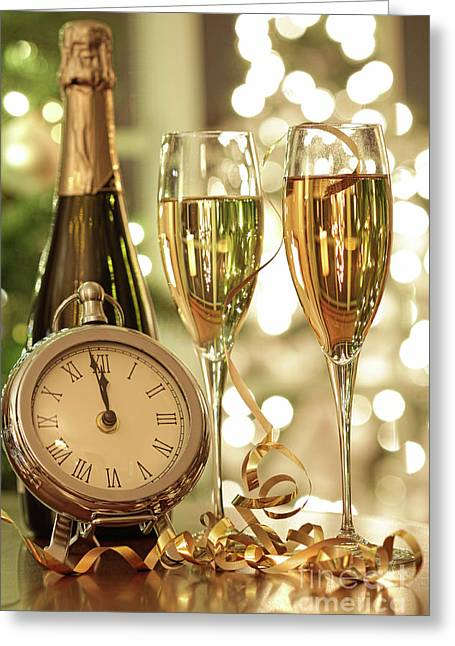 Champagne Glasses Ready To Bring In The New Year Greeting Card by Sandra Cunningham