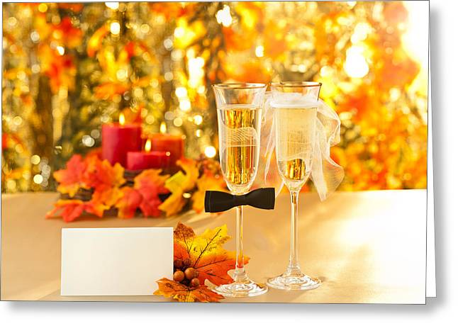 Champagne Glasses With Conceptual Heterosexual Decoration  Greeting Card by Ulrich Schade