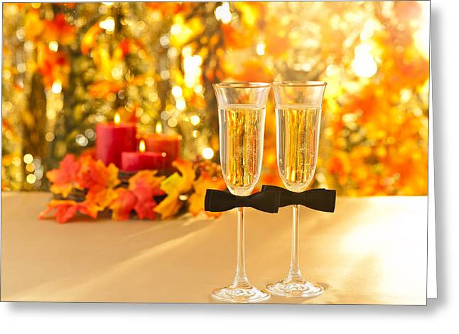Champagne Glasses With Conceptual Same Sex Decoration For Gay Greeting Card by Ulrich Schade