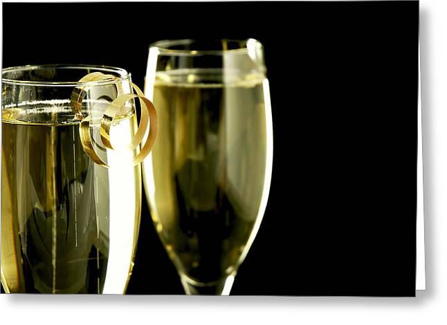 Champagne Greeting Card by Karin Hildebrand Lau