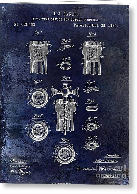 Champagne Retaining Device Patent 1889 Blue Greeting Card by Jon Neidert