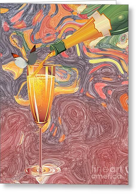Champagne Van Gogh  Greeting Card by Liane Wright