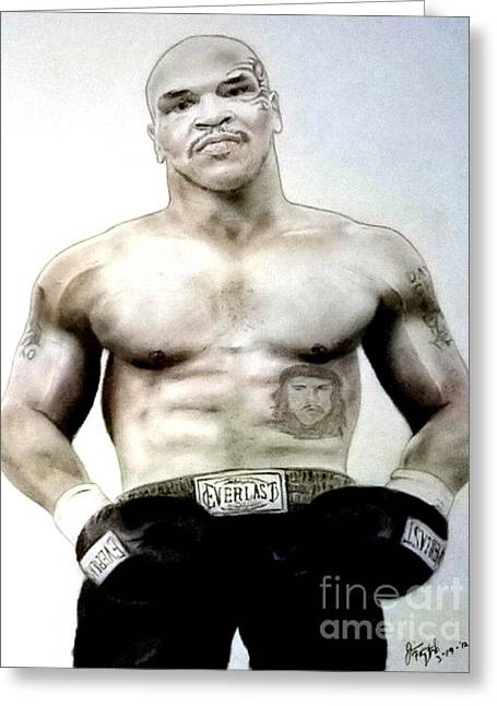 Champion Boxer And Actor Mike Tyson Greeting Card by Jim Fitzpatrick