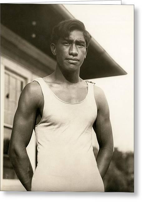 Champion Duke Kahanamoku Greeting Card by Underwood Archives
