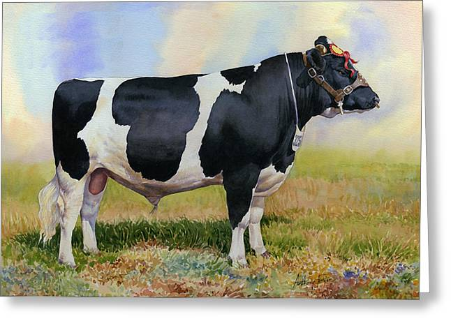 Champion Friesian Bull Greeting Card by Anthony Forster