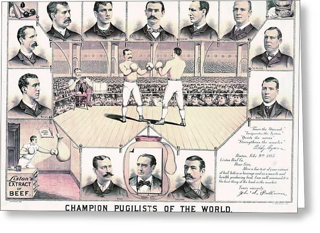 Champion Pugilists 1885 Greeting Card