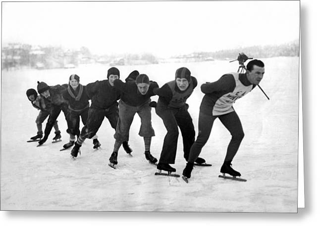 Champion Skater In Training Greeting Card by Underwood Archives